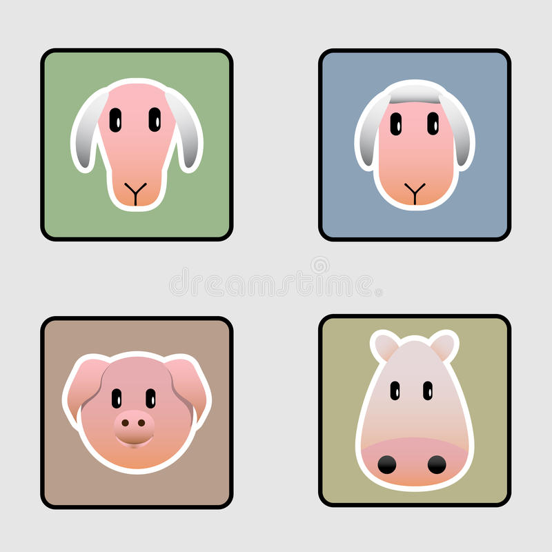 Leuke landbouwbedrijf dierlijke pictogrammen royalty-vrije illustratie