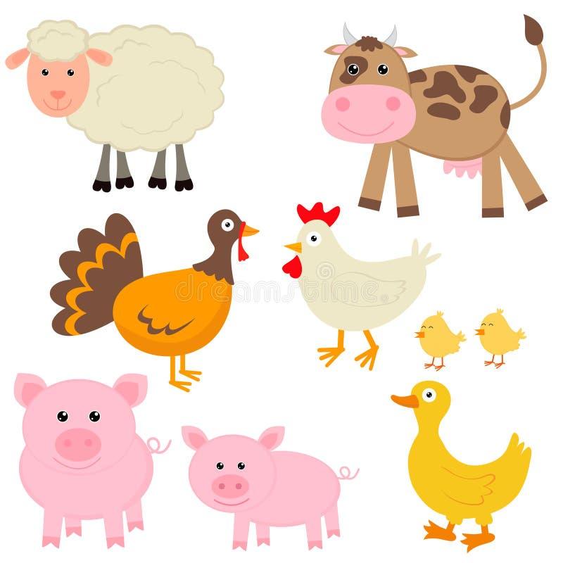 Leuke landbouwbedrijfdieren vector illustratie