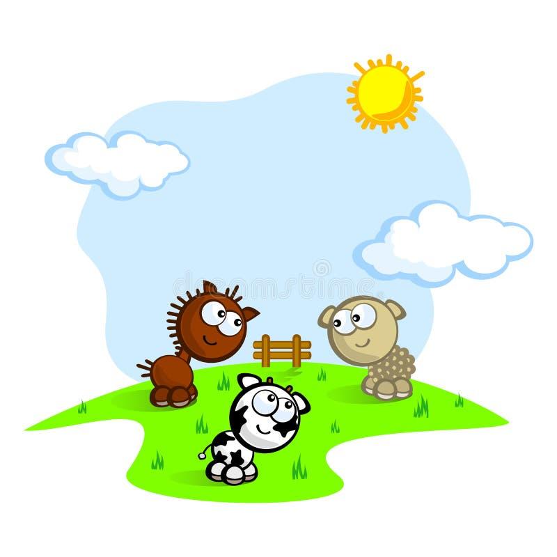 Leuke landbouwbedrijfhuisdieren stock illustratie