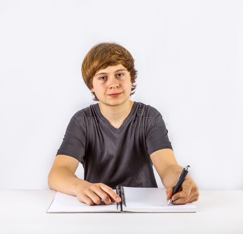 Leuke leerling die thuiswerk voor school doet stock afbeeldingen