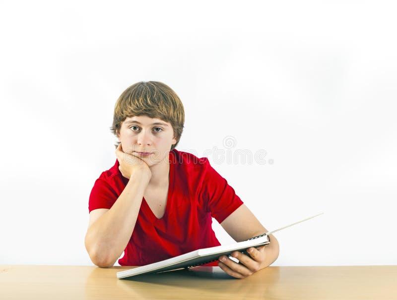 Leuke leerling die voor school leren stock foto's