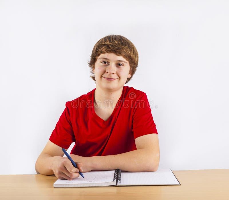 Leuke leerling die voor school leren stock afbeeldingen