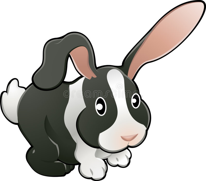 Leuke lieve zieke konijnvector royalty-vrije illustratie