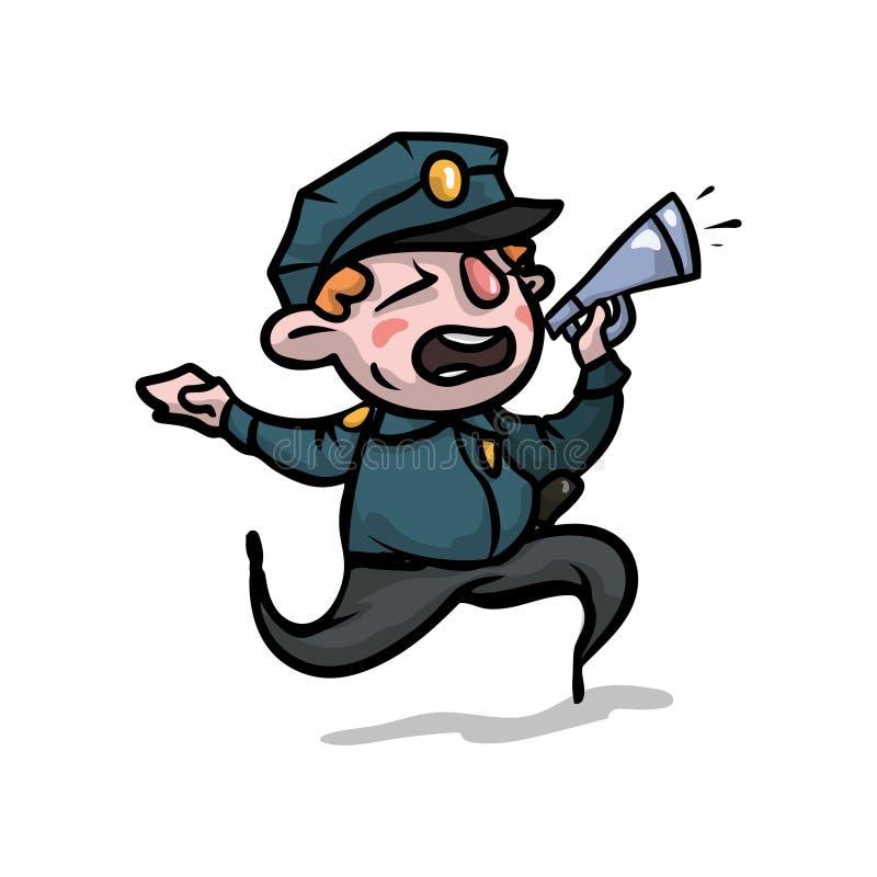Leuke lopende politieagent die in megafoon aan straatmensen spreken royalty-vrije illustratie