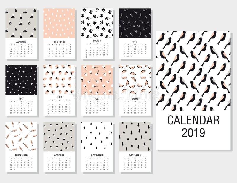 Leuke maandelijkse kalender 2019 stock afbeeldingen