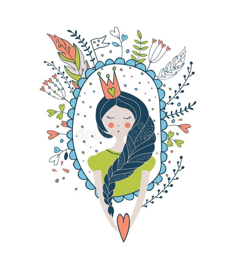 Leuke magische inzameling met prinses De illustratie o van de droomlente royalty-vrije illustratie