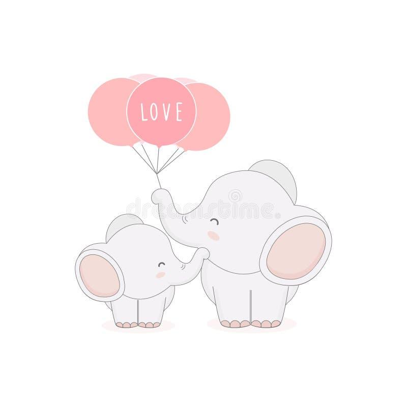 Leuke mamma en babyolifant met ballons De kaart van de moeder` s dag stock afbeeldingen