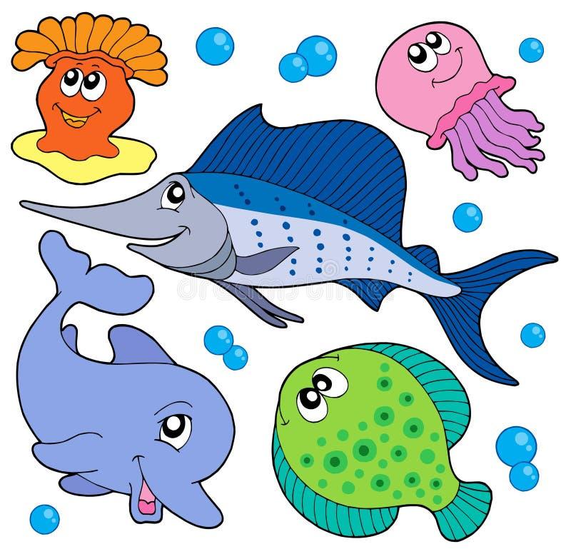 Leuke mariene diereninzameling 2 stock illustratie