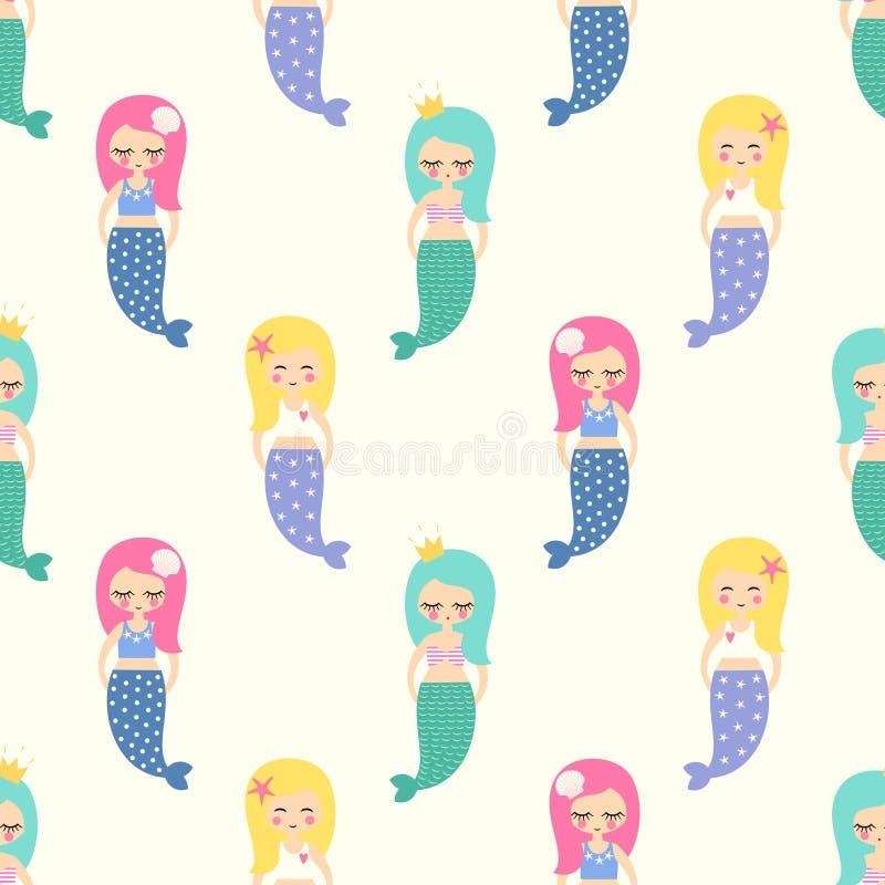 Leuke meerminnenmeisjes met kleurrijk haren naadloos patroon op witte achtergrond vector illustratie