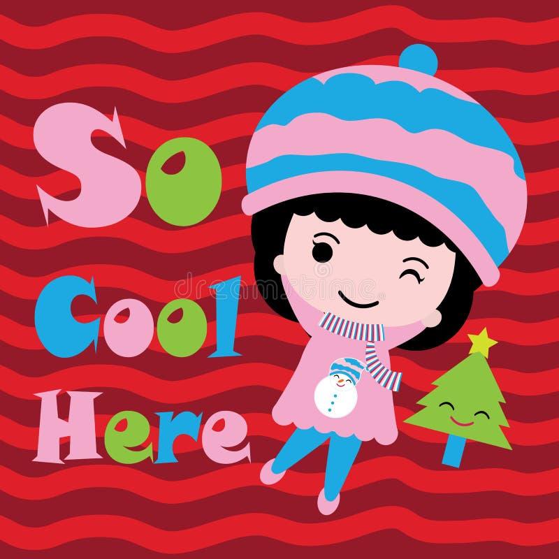 Leuke meisje en Kerstmisboom op rood vectorbeeldverhaal als achtergrond, Kerstmisprentbriefkaar, behang, en groetkaart vector illustratie