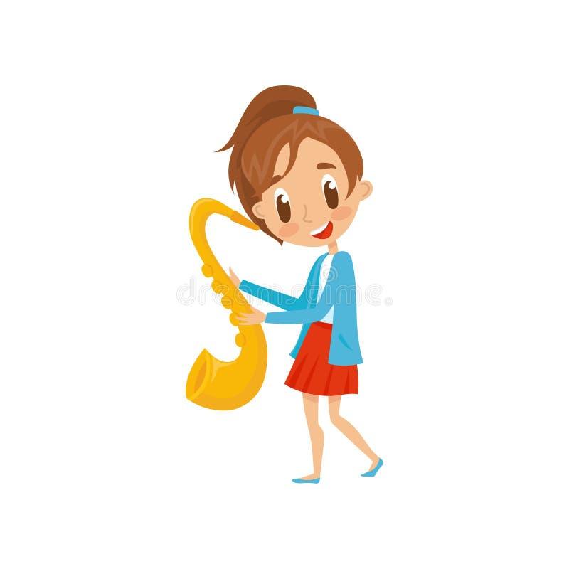 Leuke meisje het spelen begaafde saxofoon, weinig musicuskarakter met de muzikale vectorillustratie van het instrumentenbeeldverh vector illustratie