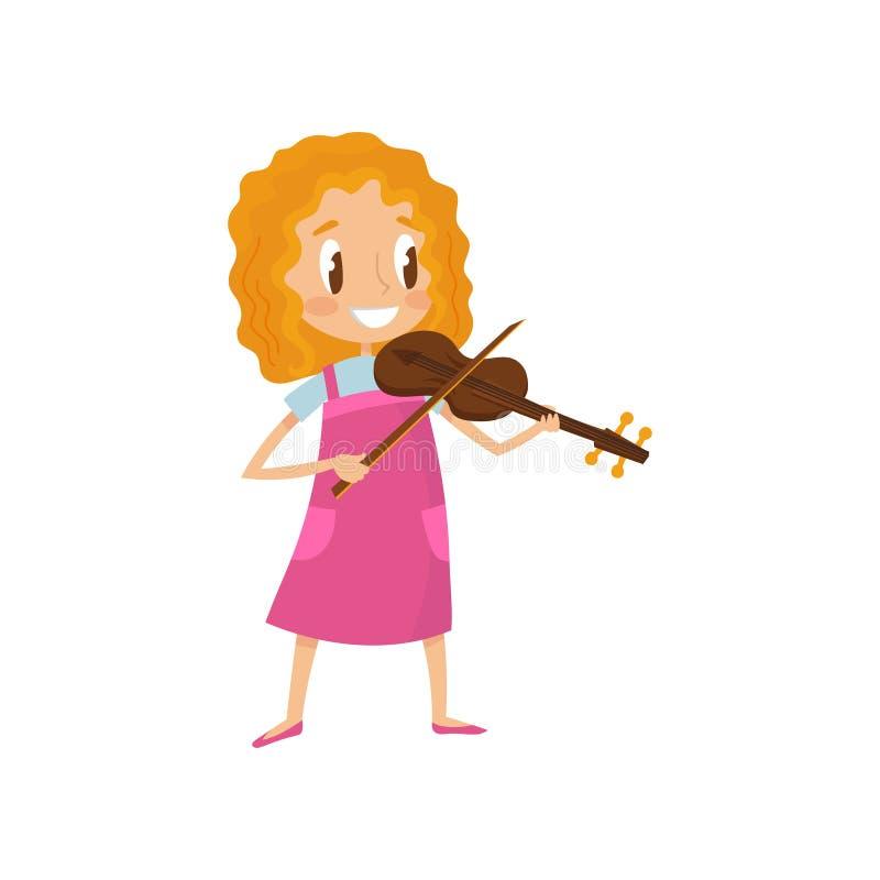 Leuke meisje het spelen begaafde viool, weinig musicuskarakter met de muzikale vectorillustratie van het instrumentenbeeldverhaal vector illustratie