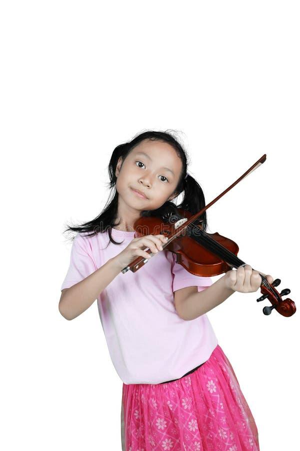 Leuke meisje het spelen viool in studio stock afbeelding