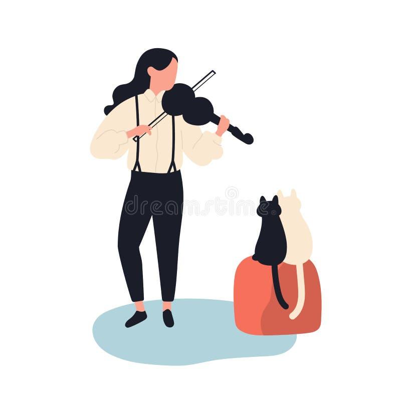 Leuke meisje het spelen viool voor haar katten Grappige aanbiddelijke vrouwelijke die musicus en katjes op witte achtergrond word royalty-vrije illustratie