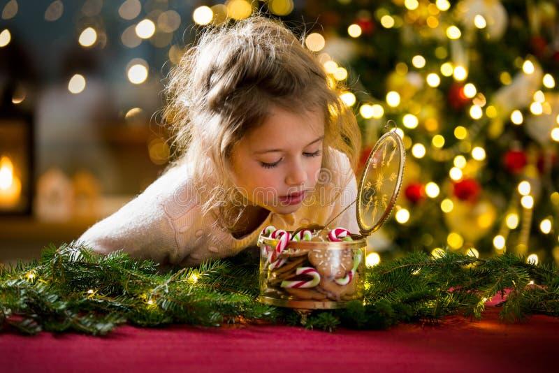 Leuke meisje het vieren Kerstmis stock afbeelding