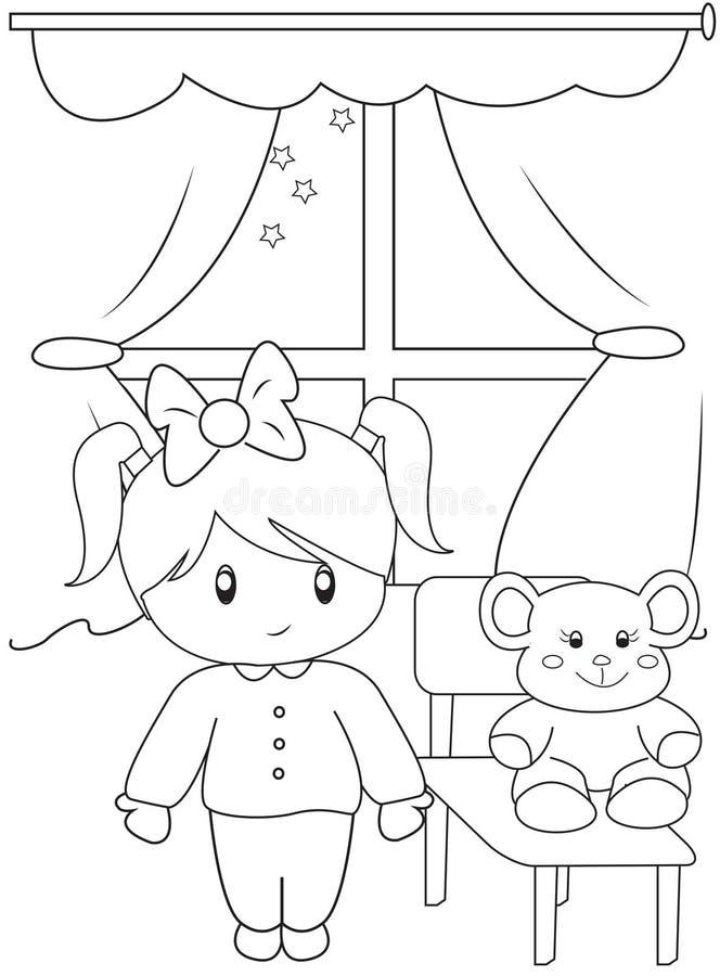 Leuke meisje kleurende pagina vector illustratie
