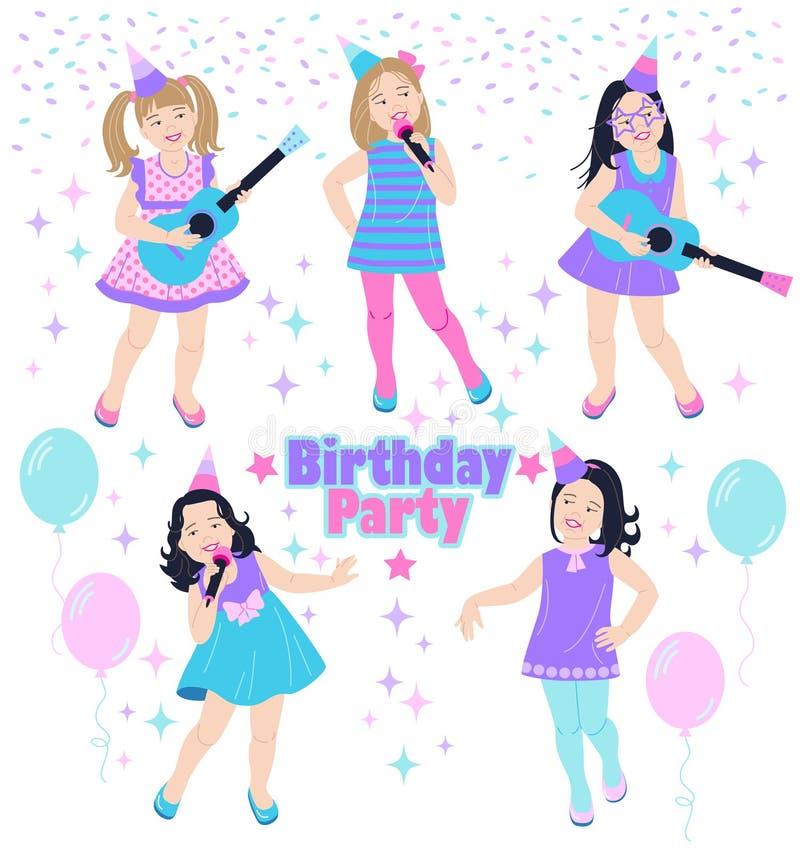 Leuke meisjes bij verjaardagspartij stock illustratie