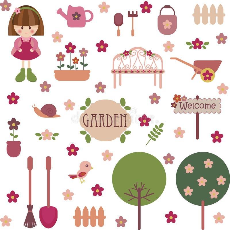 Leuke meisjesachtige tuinreeks vector illustratie