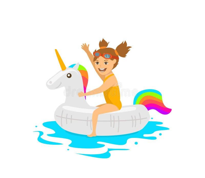 Leuke meisjeszitting op zwemmende drijvende opblaasbare ring in vorm van eenhoorn vector illustratie