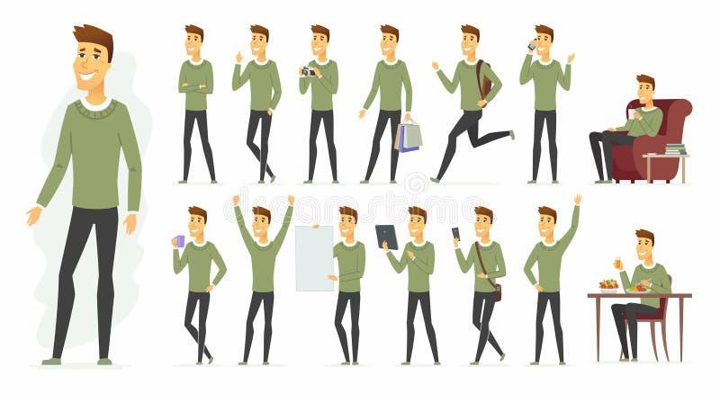 Leuke mens - het vectorkarakter van beeldverhaalmensen - reeks vector illustratie