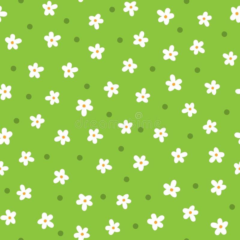 Leuke met de hand getrokken madeliefjes Het bloemen naadloze patroon van het beeldverhaal stock illustratie