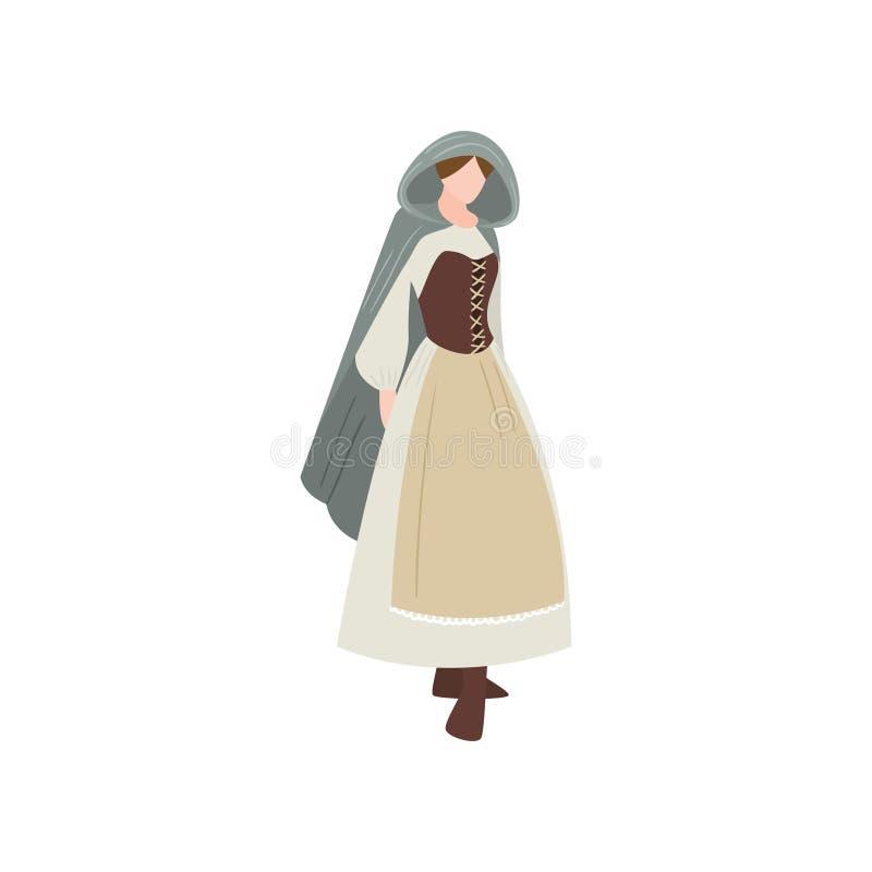 Leuke middeleeuwse sexy vrouw in lange kleding met leerkorset stock illustratie