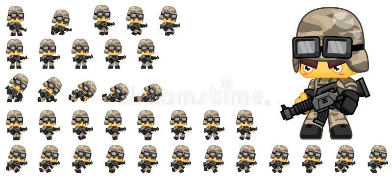 Leuke Militair Character Sprites stock illustratie