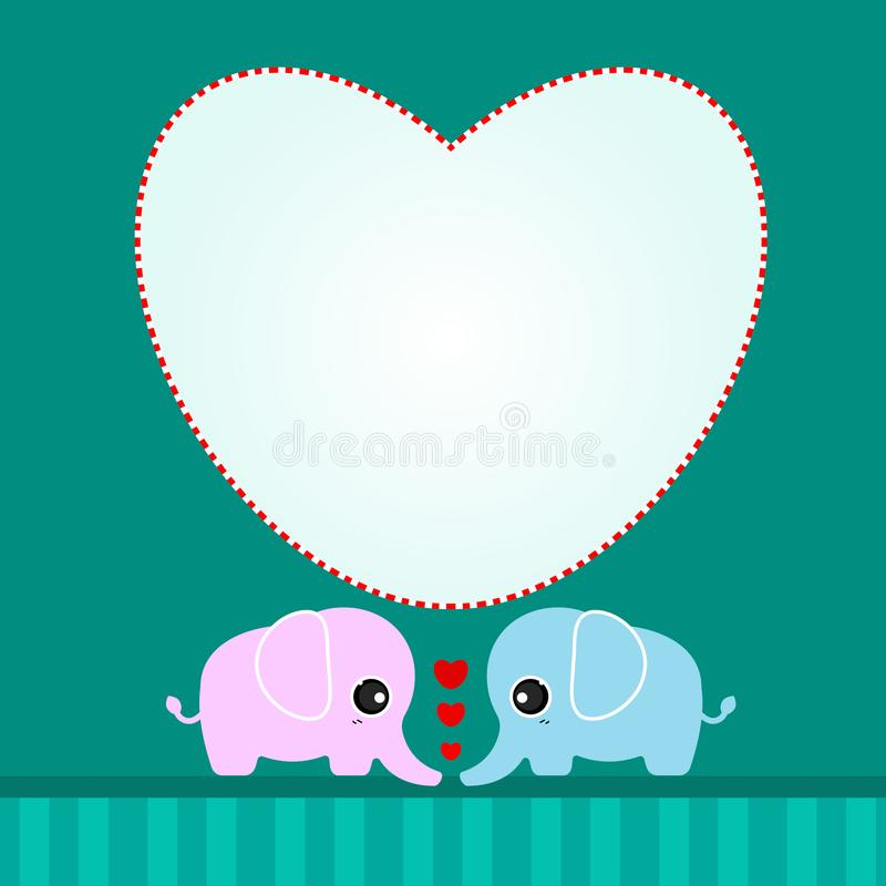Leuke minnaarolifant met harten vector illustratie