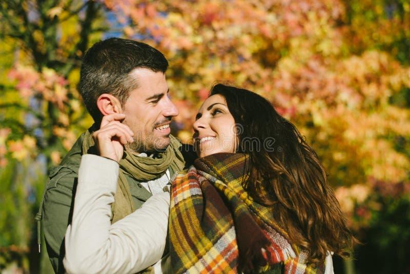 Leuke minnaars in de herfst stock afbeelding