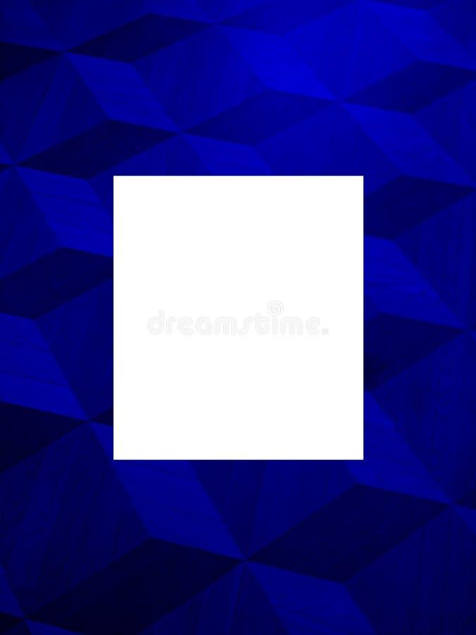 Leuke modieuze lay-out van zwarte, blauwe colores met ongebruikelijke volumetrische vierkanten vector illustratie