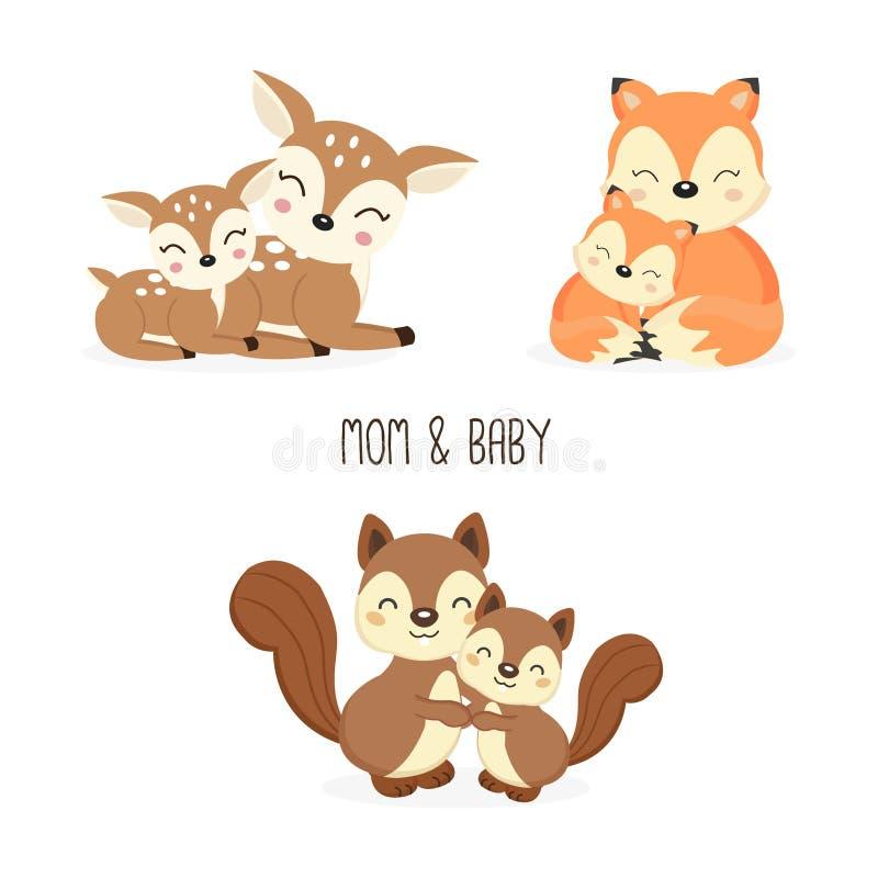 Leuke moeder en baby bosdieren Vossen, Herten, Eekhoornsbeeldverhaal royalty-vrije illustratie
