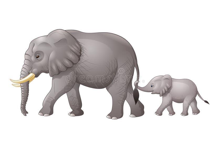 Leuke moeder en babyolifant royalty-vrije illustratie