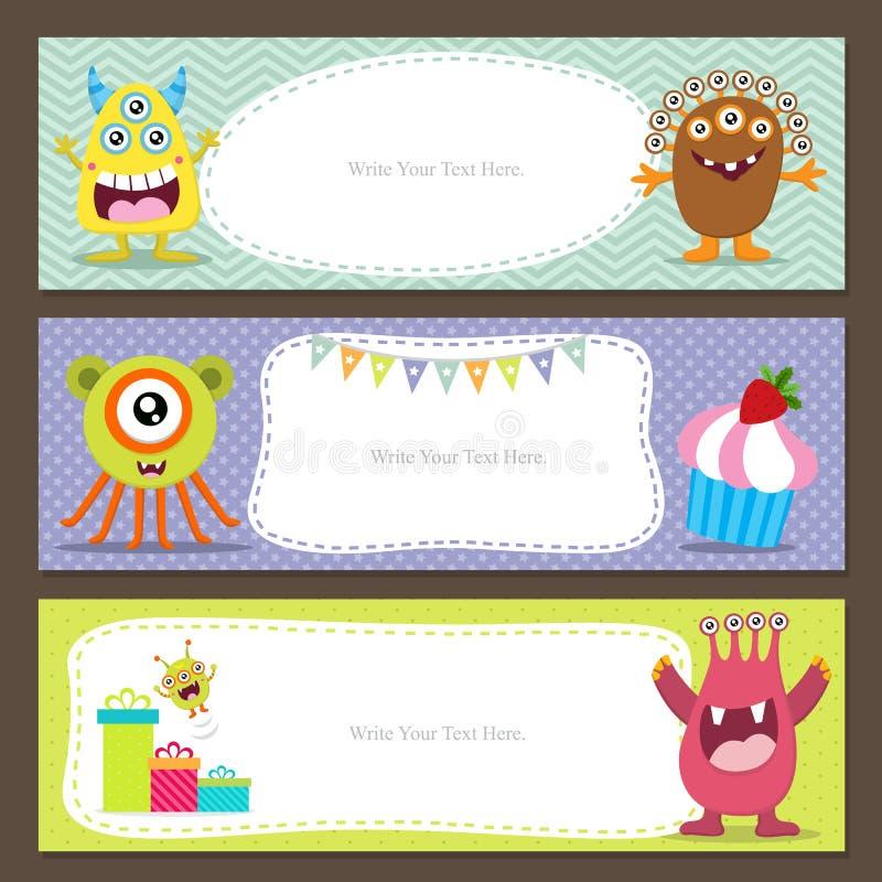 Leuke monsterkaart royalty-vrije illustratie