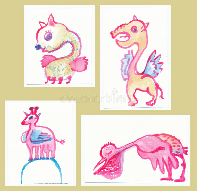 Leuke monsters royalty-vrije illustratie