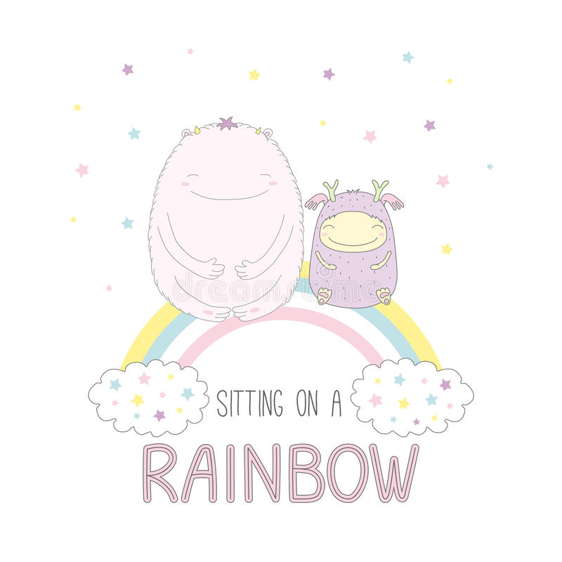 Leuke monsters die op een regenboog zitten royalty-vrije illustratie