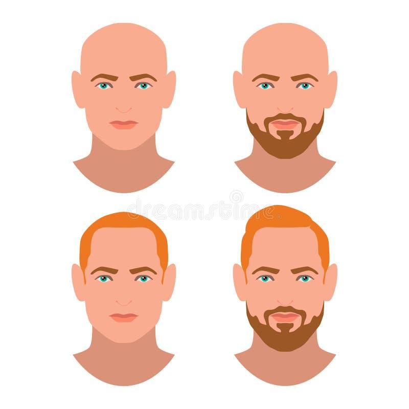 Leuke mooie jonge jongensgezichten met diverse haarstijl en baard Blondemensen Reeks avatars Naadloze bloemenachtergrond vector illustratie