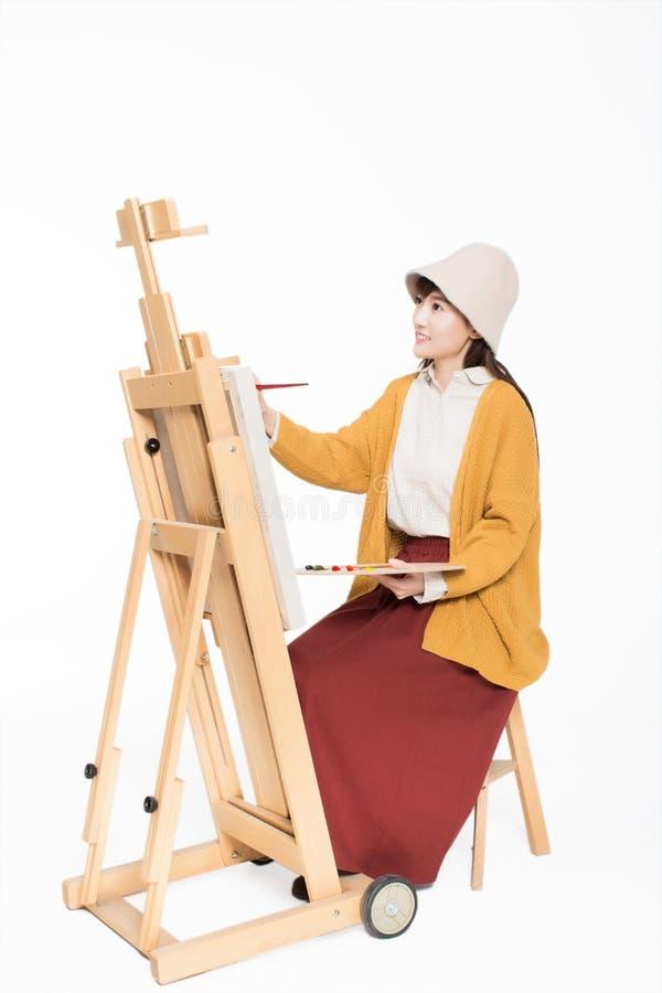 Leuke mooie meisjesschilder royalty-vrije stock afbeelding