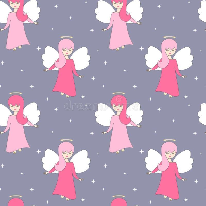 Leuke mooie van het beeldverhaal naadloze vectorpatroon illustratie als achtergrond met engelen in de hemel met sterren stock illustratie