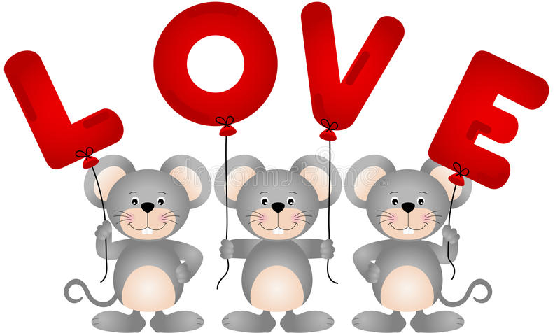 Leuke mouses met liefdeballons stock illustratie