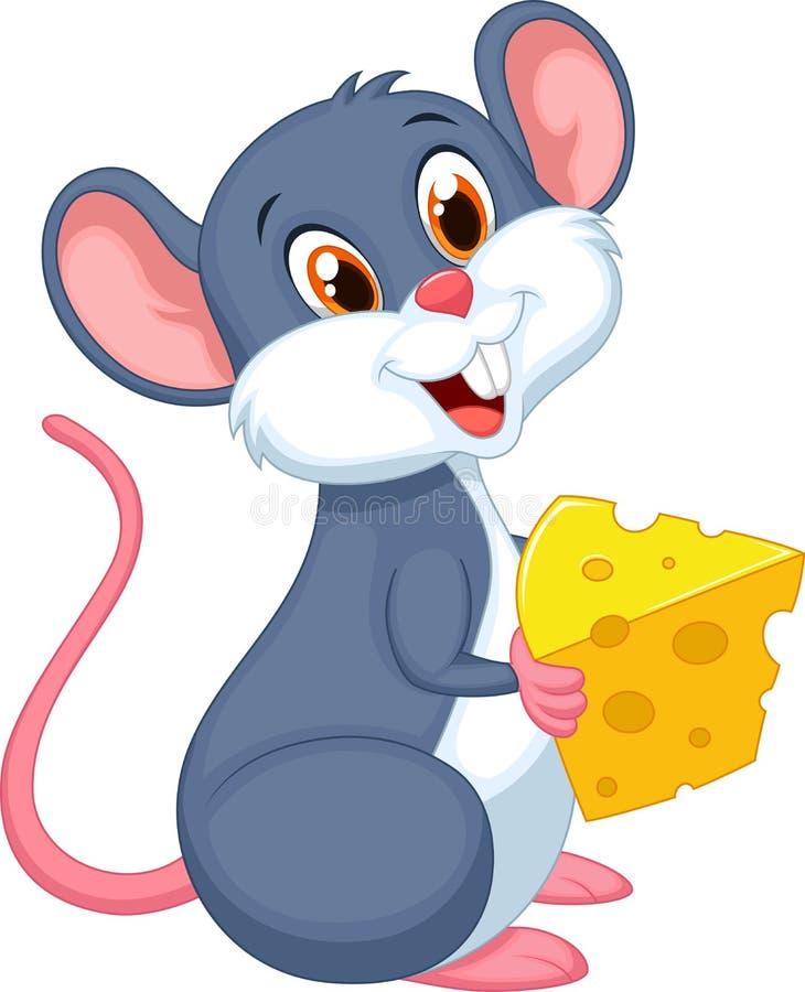 Leuke muis die een stuk van kaas houden vector illustratie