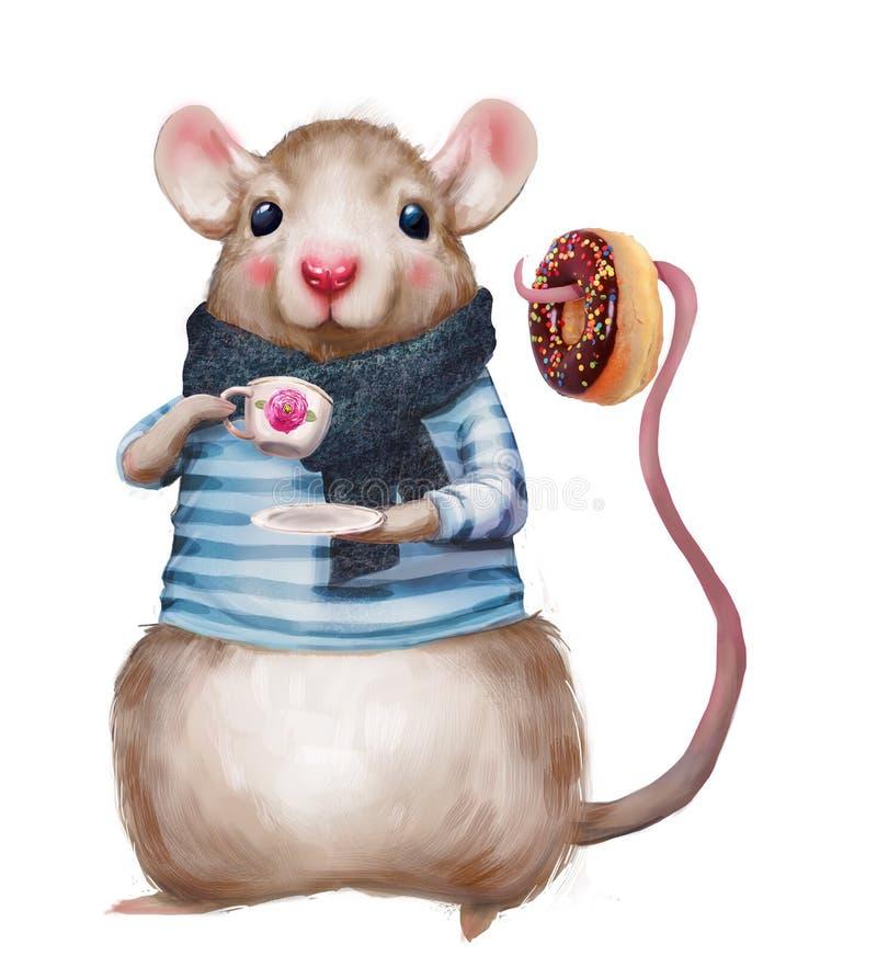 Leuke muis met doughnut stock illustratie