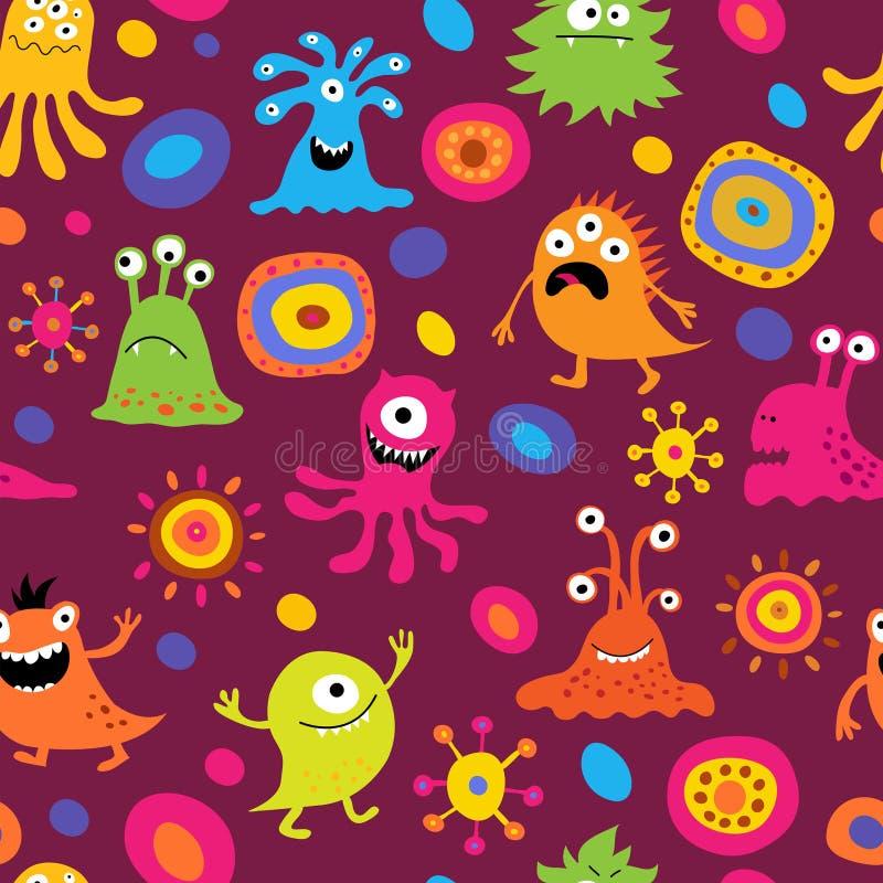 Leuke naadloze achtergrond met patronen en monsters royalty-vrije illustratie