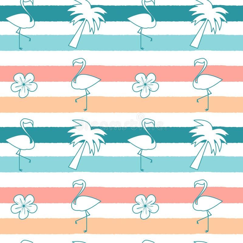 Leuke naadloze patroonillustratie als achtergrond met flamingo's, hibiscusbloemen en palm op kleurrijke strepen stock illustratie