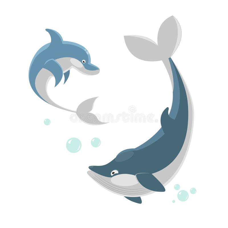 Leuke ocaenic walvis en overzeese dolfijn geïsoleerde illustratie stock illustratie