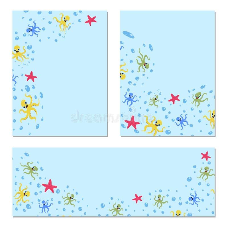 Leuke octopusmarkeringen op marien hen e Vector beeldverhaalillustratie royalty-vrije illustratie