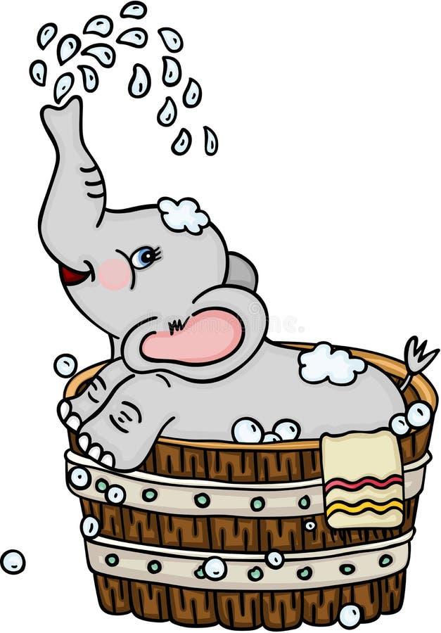 Leuke olifant die een bad in houten ton nemen stock illustratie