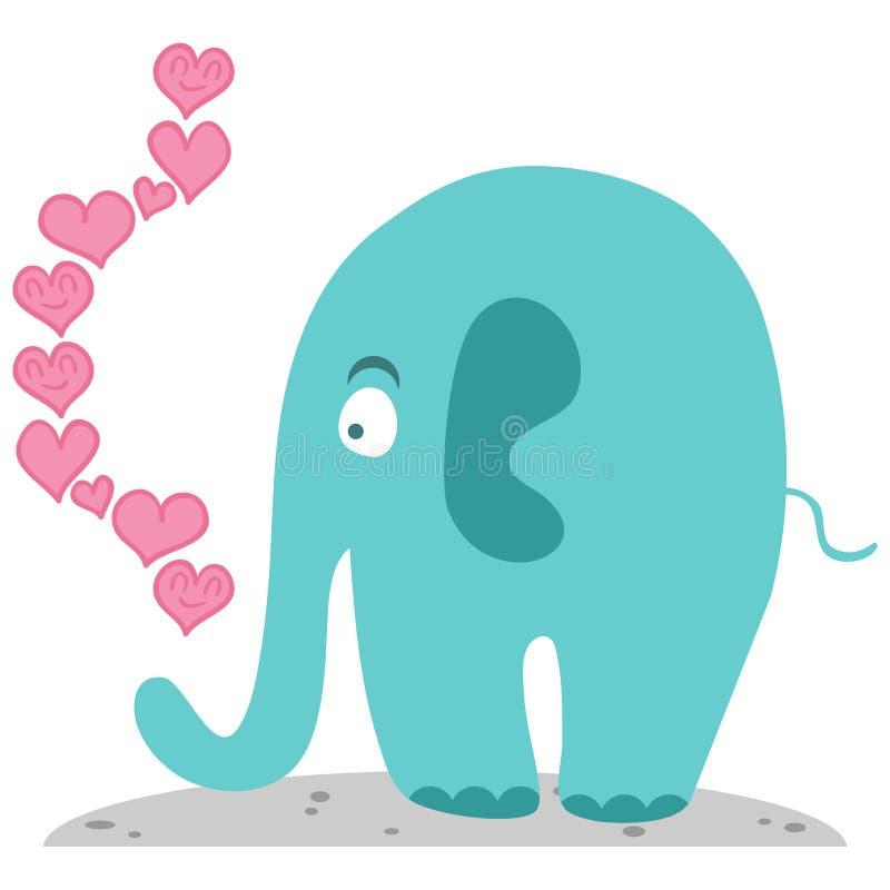 Leuke olifant in liefde vector illustratie