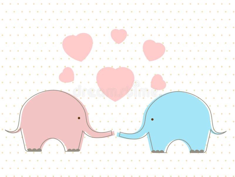 Leuke olifanten met hart royalty-vrije illustratie