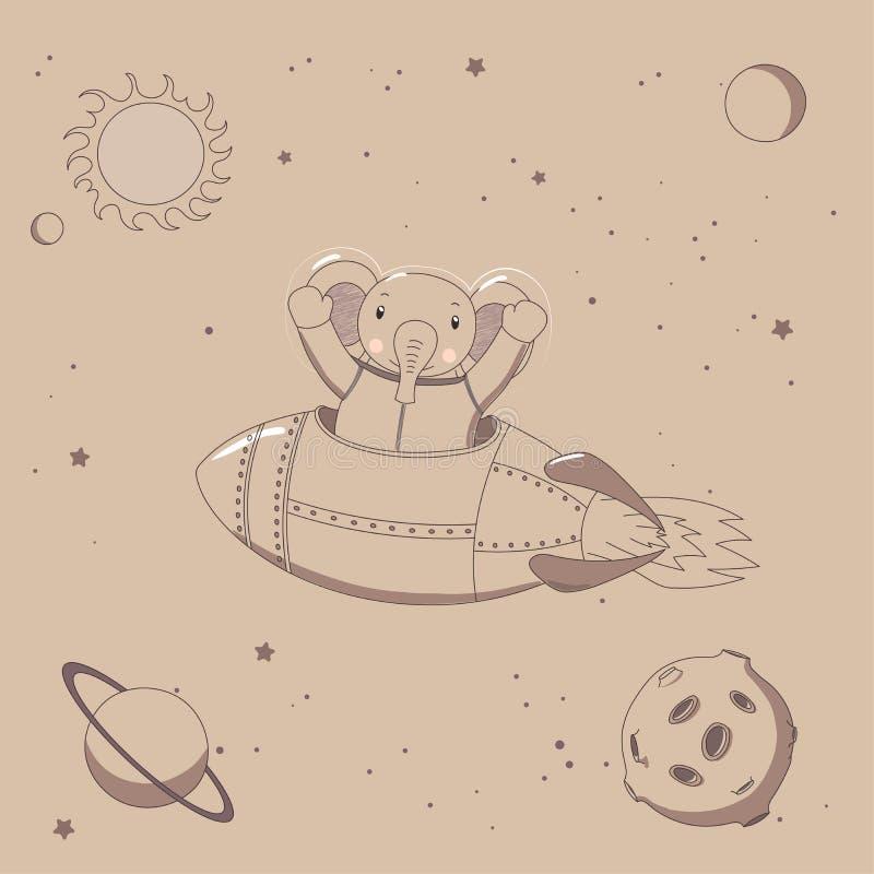 Leuke olifantsastronaut in ruimte royalty-vrije illustratie
