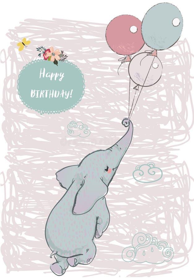Leuke olifantsvlieg met ballons vector illustratie